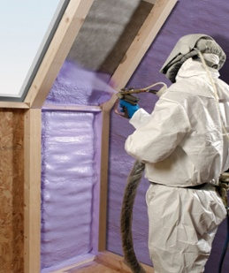 spray foam insulation being applied to home