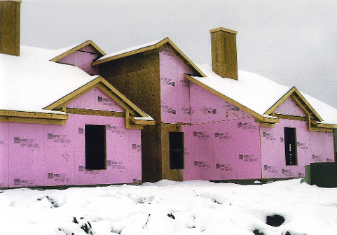 House construction in winter